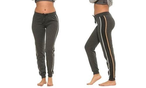 4a213415ee Coco Limon Women's Striped Fleece Jogger Pants - Charcoal - Size:M - Check  Back Soon