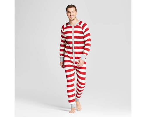 Men s Organic Cotton Rugby Stripe Union Suit Pajamas- Cranberry ... 10207e225