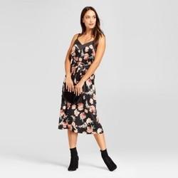 Women's Floral Satin Slip Dress - A New Day  Black L 1816192