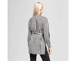 671c0f66957 Women's Split Long Sleeve Tunic Shirt - Who What Wear™ Black/White Stripe