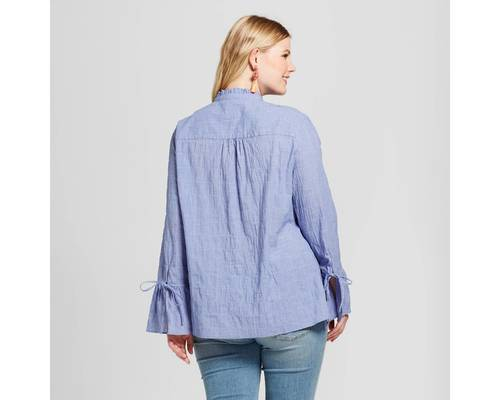 ae69ee72 ... Women's Plus Size Chambray Check Button Down Shirt - Blue - Size:4X Ava  ...
