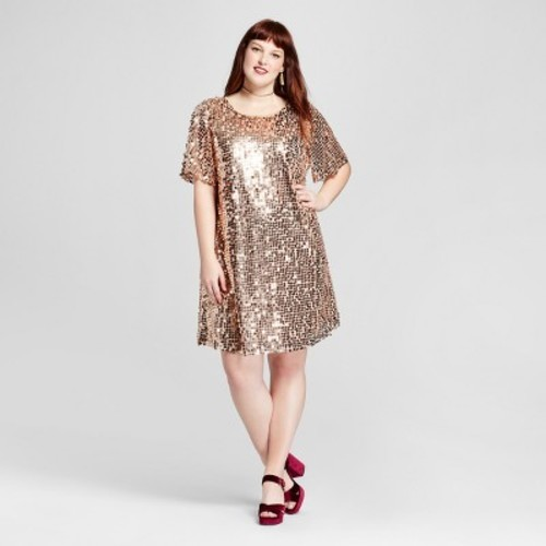 Women\'s Plus Size Short Sleeve Sequin Dress - Rose Gold - Size:X  Xhilaration - Check Back Soon