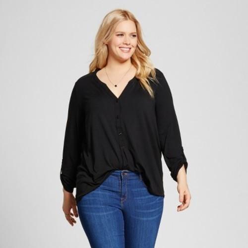 33ff594b07d Women s Plus Size Mixed Media Popover Top - Ava   Viv Black X ...
