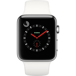 Apple Watch Series 3 - GPS+Cellular - Stainless Steel Case with Soft White Sport Band - 42mm