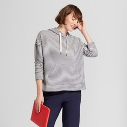 Women's Long Sleeve Striped Leisure Hoodie - A New Day  Navy/Cream M 1824211