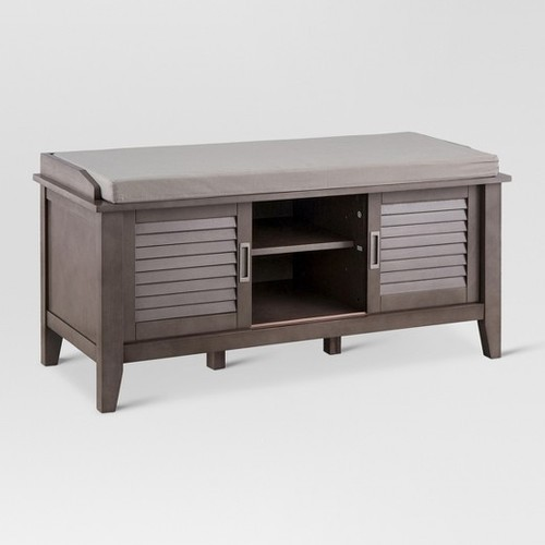Threshold Entryway Storage Bench with Slatted Doors - Gray ...