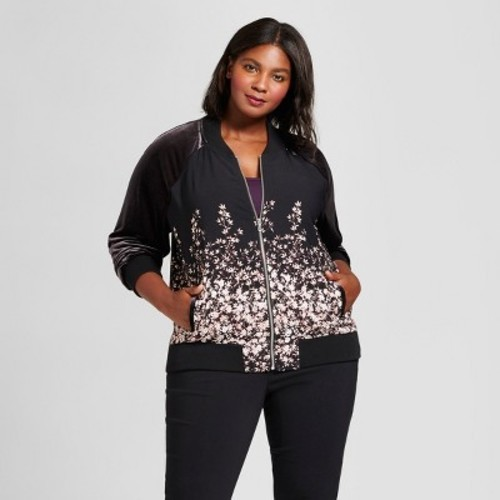 ebb45f0e9 Women's Plus Size Floral Bomber Jacket - A New Day Black 1X - Check Back  Soon