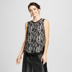 Women's Chiffon Layered Tank Top - Who What Wear  Black/White Lace M 1830257