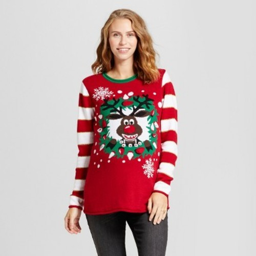 maternity light up reindeer tunic sweater ugly christmas sweater red l - Maternity Christmas Sweater