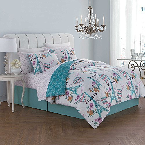 Paris Themed Bed In A Bag Set Darcy Blue Size Queen 8 Piece