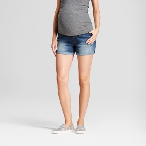 64462a28aff86 Maternity Crossover Panel Jean Shorts - Isabel Maternity™ by Ingrid & Isabel®  Dark Wash