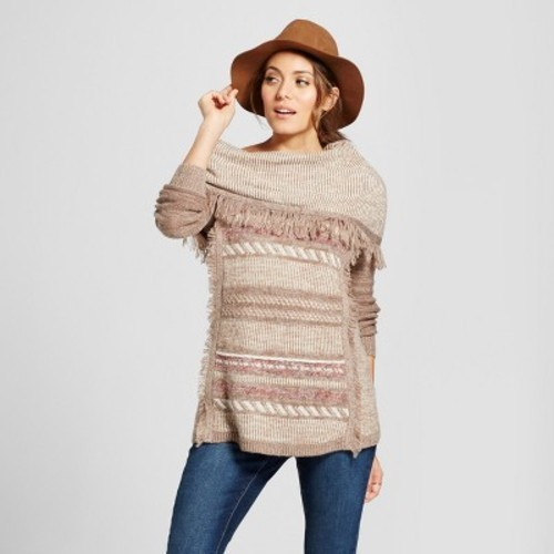 Women\u0027s Fringe Neck Sweater , Knox Rose Tan L , Check Back Soon