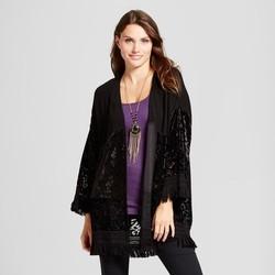 Knox Rose Women's Velvet Fringe Kimono - Black - Size:XS 1828122