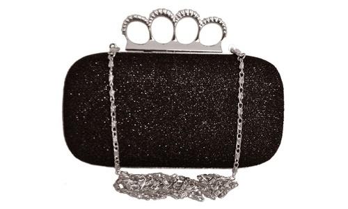 Rhinestone Women S Stud Knuckle Duster Clutch Black