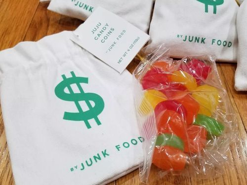 Juju Candy Coins Canvas Drawstring Money Bag Pouch Party Favors 8 Pack