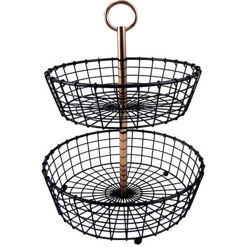 Two-Tier Wire Basket Stand with Copper Plated Handle