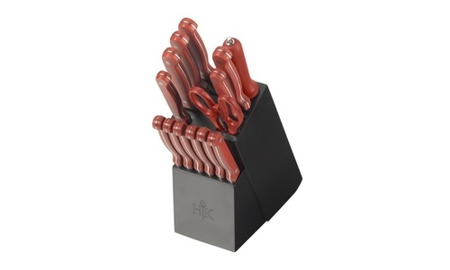 hells kitchen knives hell s kitchen cutlery block set red 15 piece set check back soon blinq 4383