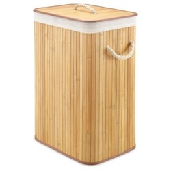 Whitmor Rectangular Bamboo Laundry Hamper with Liner and Rope Handles 1850632