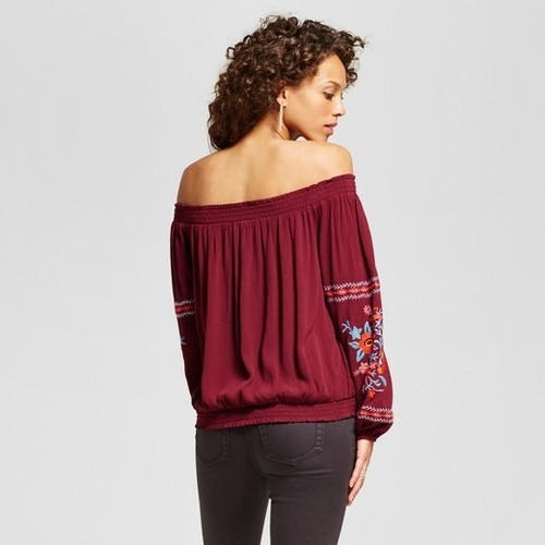 722f725b145bc Xhilaration Women s Embroidered Off The Shoulder Top - Berry - Size  ...