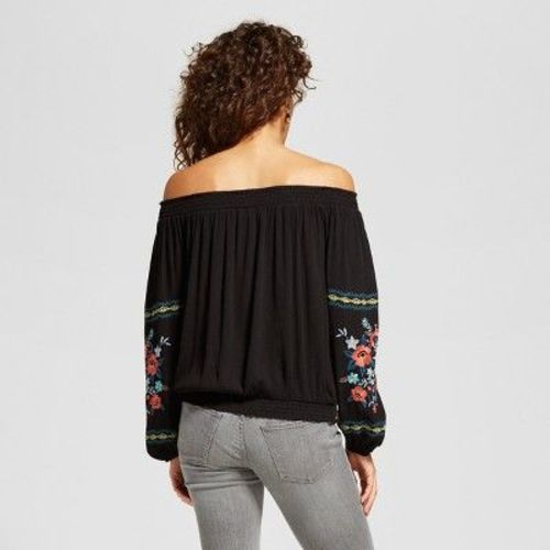 ceae5b6e37c2e Xhilaration Women s Embroidered Off The Shoulder Top - Black - Size  ...