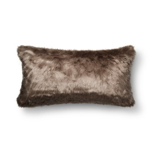 Brown Oversized Faux Fur Throw Pillow Threshold Check