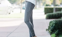 Women's Faux Suede Leggings with Side Ankle Zip: XL/Charcoal 1867168