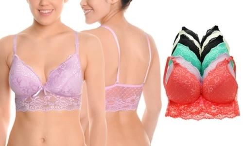 76b6209d274b2 Angelina Women s Wireless Lace Bras - 6 Pack - Multi - Size  L XL ...