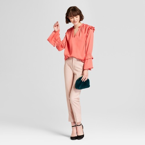 af40f304005116 A New Day Women's Long Sleeve Satin Ruffle Blouse - Coral - Size:S ...