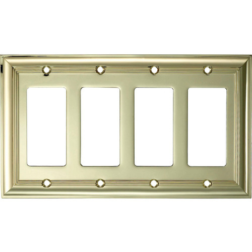 Allen + Roth 4 Gang Decorator Wall Plate  Polished Brass. Cheap Hotels With Jacuzzi In Room. Fire Themed Decorations. How To Make A Movie Theater Room. Rooms To Go Baby
