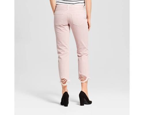 e146b9d5f68 ... Mossimo Women's Low-Rise Destroyed Cropped Boyfriend Jeans - Pink ...