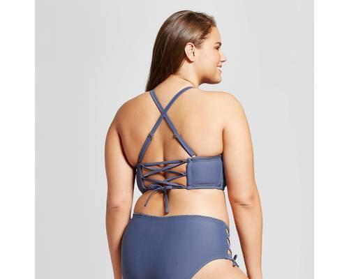 50ae9b8bb0f Xhilaration Women's Plus Size Crochet Bikini Top - Indigo - Size:14W ...