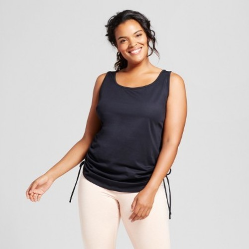 223460d5e JoyLab Women's Plus Size Ruched Side Tie Tank Top - Black - Size:2x ...