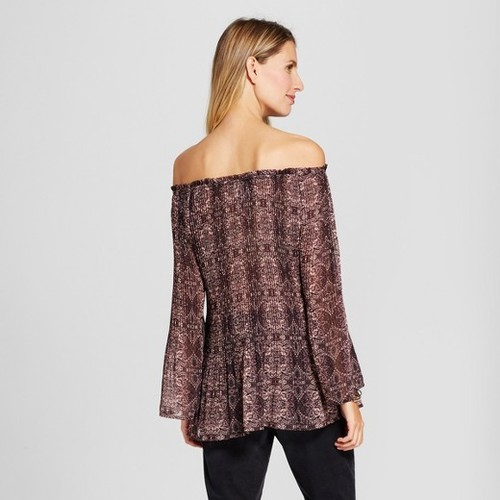 Knox Rose Women/'s Long Sleeve Sheer Print Pleated Top Burgundy