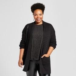 Women's Plus Size Textured Cardigan - Ava & Viv Black 3X 1889653