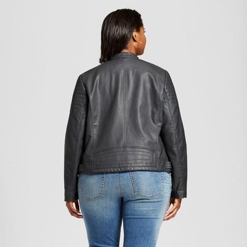 4f9b0d428d3c7 Ava   Viv Women s Faux Leather Moto Jacket with Zip - Black - Size  ...