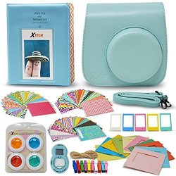 Xtech FujiFilm Instax Mini 9/8 ICE BLUE Accessories Kit with Ice Blue Camera Case with Strap + Photo Album + Colorful Frames + Sticker Frames + Large Selfie Mirror + 4 Colorful Filters + String + MORE 1893301