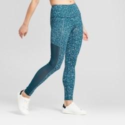 JoyLab Women's Premium High Waist Mesh Splatter Leggings - Teal - Size:XL 1897773
