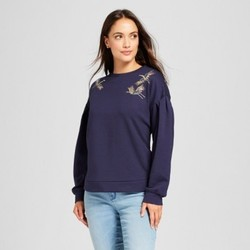 Women's Embellished Crane Pullover Sweatshirt - A New Day  Navy S 1898314