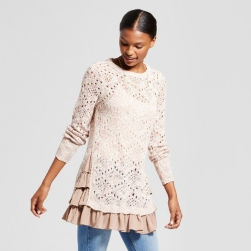 Women\u0027s Pointelle Ruffle Hem Sweater , Knox Rose Multi Rose XL , Check Back  Soon