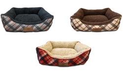 AKC Plaid Cuddler Pet Bed: Gray