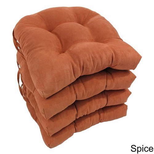 ... Blazing Needles U Shaped Microsuede Dining Chair Cushions 4 Set   Spice  ...