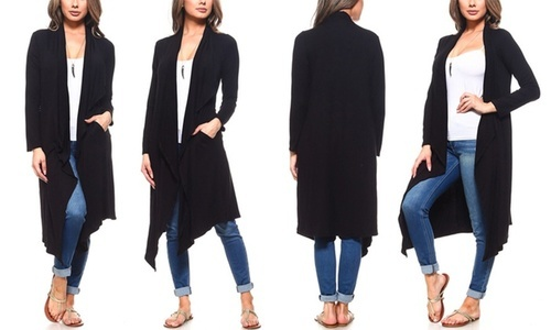 Isaac Liev Women s Drape Front Cardigan with Pockets - Black - Size ... 1e7b4576d