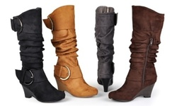 Journee Women's Slouch Wedge Knee High Boots
