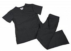 Natural Uniforms Womens Mock Wrap Scrub Set Small Black 1946066