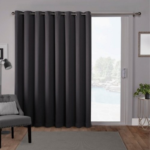 Sateen Blackout Solid Grommet Top Wide Patio Curtain Panel Charcoal