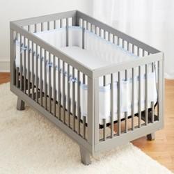 BreathableBaby Mesh Crib Liner - Seersucker Blue