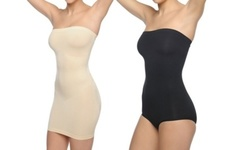 Women's Body Beautiful Seamless Strapless Body Shaper - 2 Pack - Nude/Black - Size:L/XL 1971166