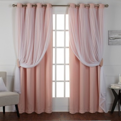 0e1b98e4b31a Caterina Layered Solid Blackout with sheer top curtain panels Rose Blush  52x84 - Exclusive Home