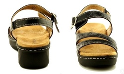 Socal Women's Open Toe Wedge Sandals - Black - Size:6