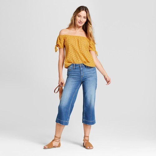 92472849ac66be Women's Eyelet Off the Shoulder Top Short Sleeve Blouse - Universal Thread™  Gold